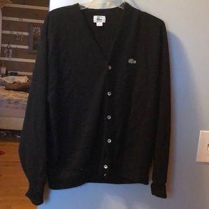 Black Lacoste Button Down sweater